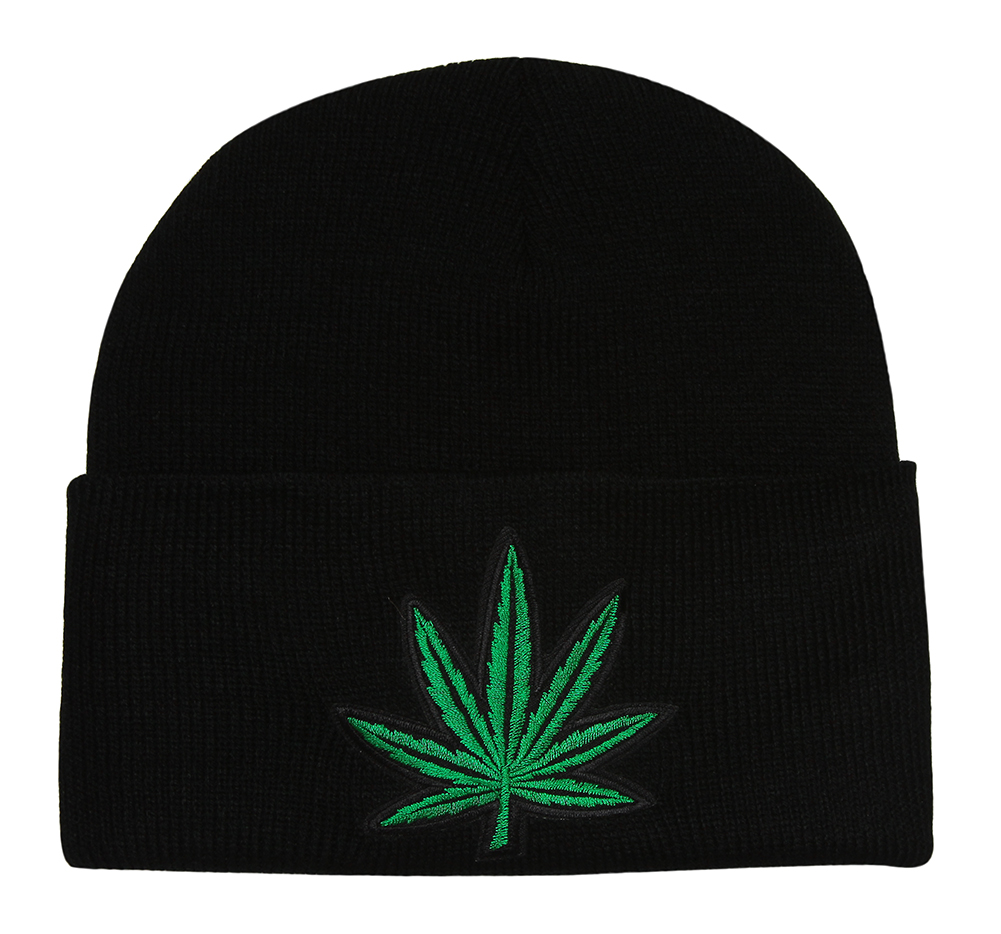 Image of Embroidered Black Cuff Marijuana Leaf Knitted Beanie