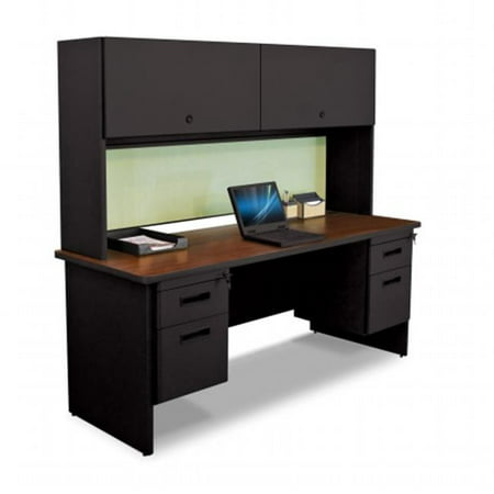 Marvel Group Of Companies (Marvel Group PRNT7-BK-F8559-MADN 72 W x 24 D in. Double File Desk Credenza with Flipper Door Cabinet, Black & Mahogany,)