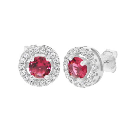 - 925 Sterling Silver Round Cut Red Clear CZ Prong Set Stud Earrings for Women 9mm