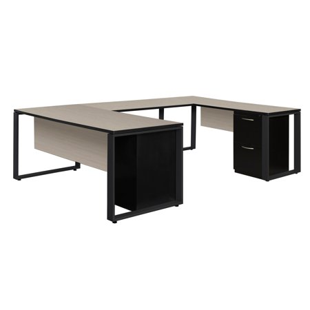 Regency Structure Double Metal Pedestal U-Shaped Office Desk With File  Cabinets