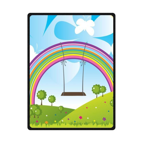 CADecor Hanging In Rainbow On The Swing Fleece Blanket Throws 58x80 inches