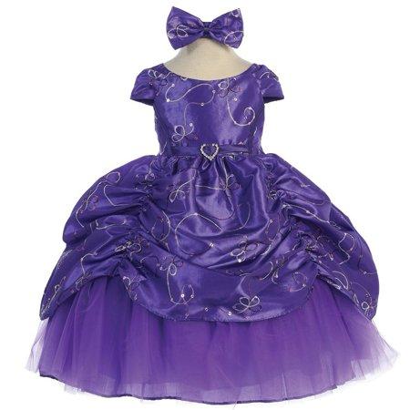 Baby Girls Purple Cinderella Embroidered Taffeta Dress 6-24M