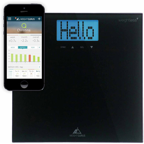 Weight Gurus Smartphone Connected Digital Bathroom Scale, Large Backlit LCD and Weightless Technology
