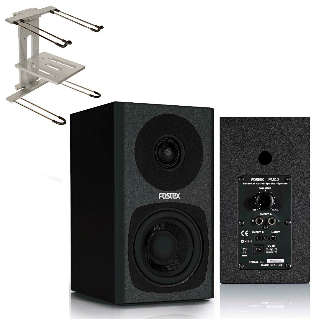 Fostex PM03B Studio Monitors with Jamstands JSLPT400 Aluminum Laptop Stand