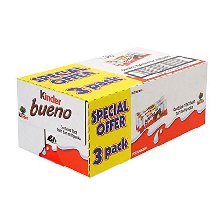 Kinder Bueno Chocolate Bars 43g x 30 - Case of 30 (43g x 3 x 10) Kinder Bueno Candy