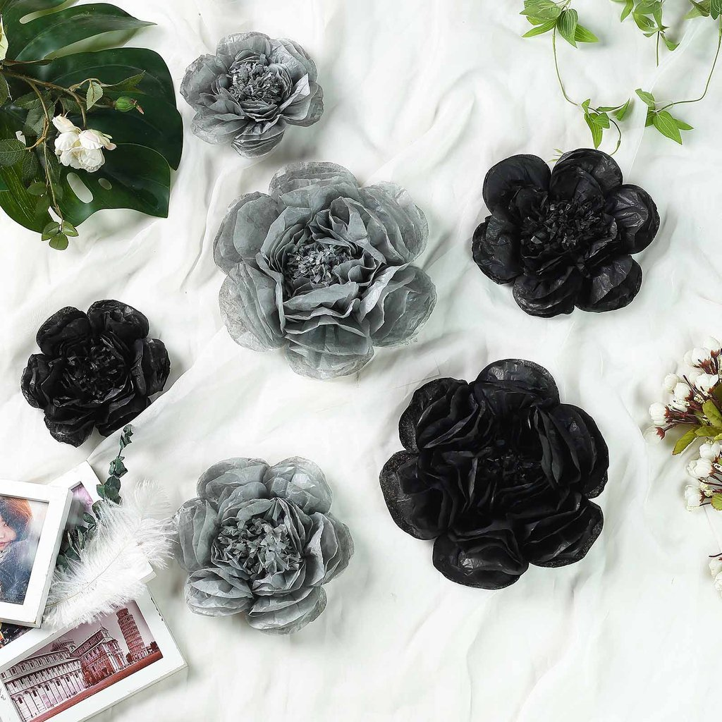 Efavormart 6 Pack Assorted Size Giant Paper Peony Flowers Decor for Centerpieces Arrangement Party  - 12"