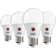 Sunco Lighting 4 Pack A19 LED Bulb with Dusk-to-Dawn, 9W=60W, 800 LM, 2700K Soft White, Auto On/Off Photocell Sensor - UL