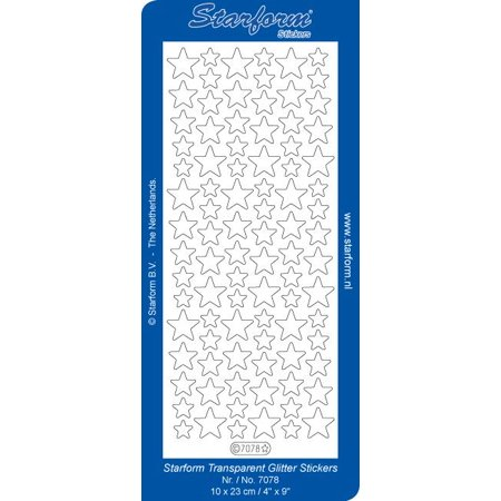 Deco Stickers - Stars - Transparent Glitter Silver Star Glitter Stickers