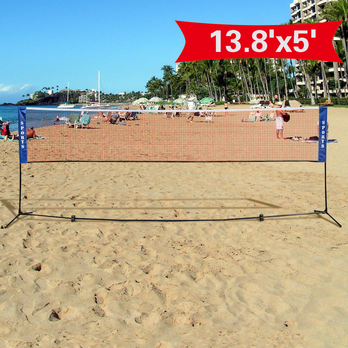 Costway Portable 13.8'x5' Badminton Beach Volleyball Tennis Training Net w/ Carrying Bag