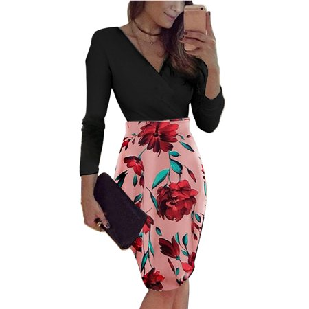 Long Sleeve Bandage Bodycon Dress Women V Neck Wrap Floral Print Business Dress Evening Cocktail Party Slim Casual