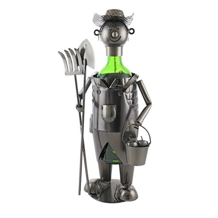 Fine Metal Farmer Wine Bottle Holder Character Kitchen