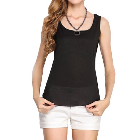 Summer Women Candy Color Sleeveless Camisole black M