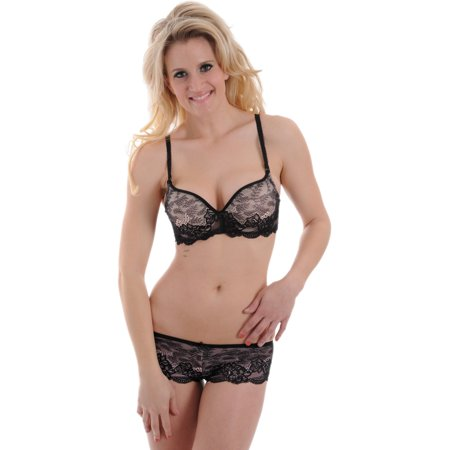 Womens Pink Black Lace Extreme Push Up Bra with Boy Short Panty Convertible 2 Piece Underwire Panties
