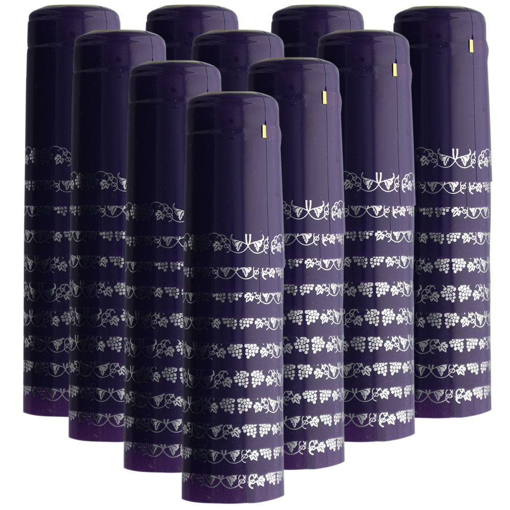 PVC Heat Shrink Capsules With Tear Tabs For Wine Bottles - 120 Count (Purple/...