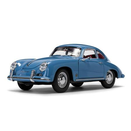 1957 Porsche 356A 1500 GS Carrera GT Coupe Aquamarine Blue with Red Interior 1/18 Diecast Model Car by Sunstar