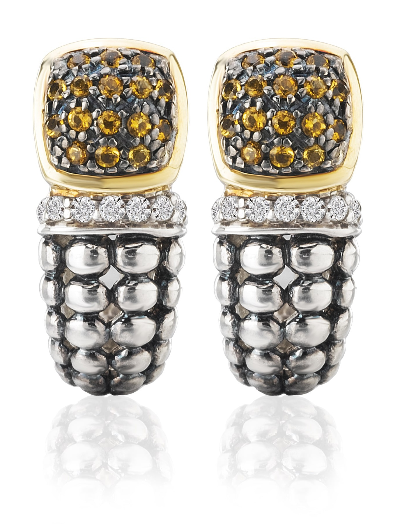 Avanti Palladium Silver 18k Yellow Gold Citrine and White Sapphire Earrings by Overstock
