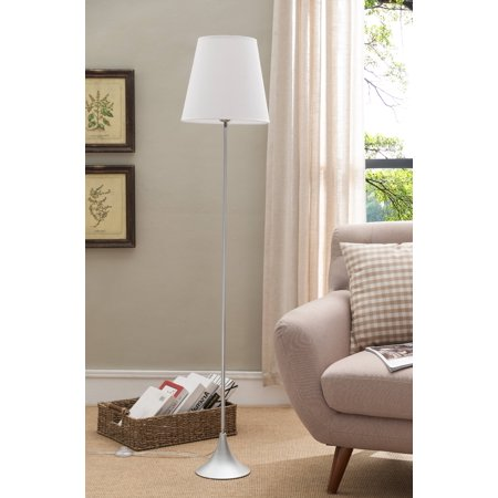 Silver With White Fabric Shade Contemporary Floor Standing Lamp ...