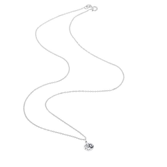 Chic Jewels NK3011 I Love You to the Moon & Back Necklace Round Pendant for Women in Sterling Silver - image 1 of 1