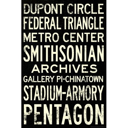Metro Wall Map (Washington DC Metro Stations Vintage RetroMetro Travel Poster Print Wall)