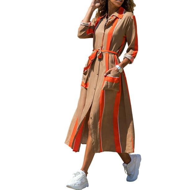 Women Long Sleeve Shirt Dress Lapel Button Down Split Slit Belted Casaul Long Maxi Dresses