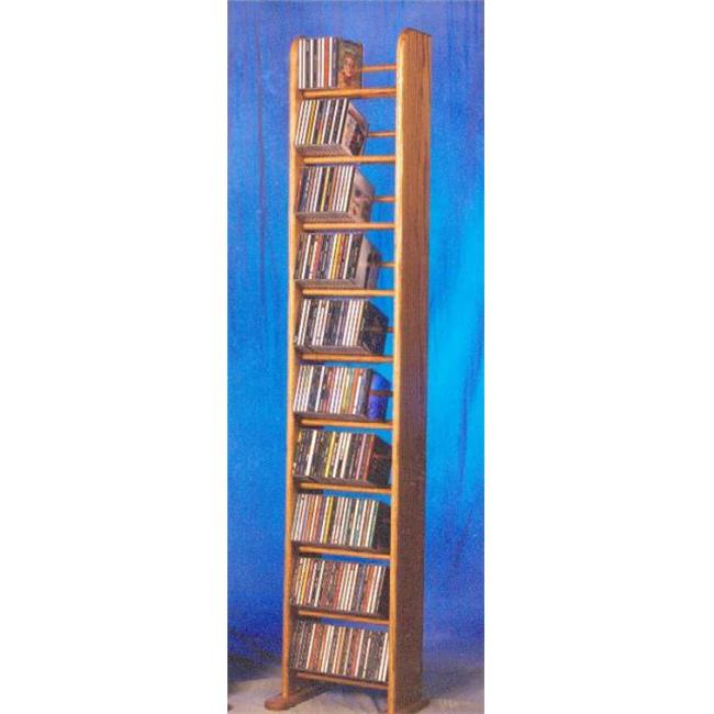 Wood Shed 1004 Solid Oak 10 Row Dowel Tower CD Rack