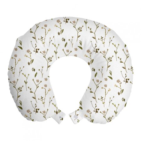 Floral Travel Pillow Neck Rest, Randomly Spread Layout Meadow Flowers in Wild Nature Tones on Plain Backdrop, Memory Foam Traveling Accessory Airplane and Car, 12 , White Multicolor, by Ambesonne Ambesonne Travel Pillow Neck Rest STANDARD SIZE - 12  Wide x 12  Long. U shape head support. Rest pillow with durable printed cover. MADE FROM - Soft & moldable viscoelastic memory foam. Sturdy and soft 100% polyester fabric cover. FEATURES - Breathable. Removable cover has a zipper closure. Easy to attach with snap fasteners. PORTABLE - Comfortable on a plane, bus, car, train or at home while watching TV, reading a book, napping. PRINTED - With state of the art digital printing technology. Long-lasting bold colors & clear image. Feel like at home even on the go! Feel the comfort and softness with this smart design memory foam travel pillow. Choose between thousands of different patterns for a more personalized look. This printed cover is machine washable so; you can have a fresh and clean pillow every journey. It can be quickly taken off and put on with zipper closure. Its comfortable and breathable. Use it in the car, plane, train or bus. Itll be your best traveling partner. With its snap fasteners, you can easily attach it to your luggage or backpack without taking much space. Besides traveling you can use it at home or office. Even a simple nap will be better with this relaxing head support. Dont miss the style while seeking for comfort. This pillow will give you both, surely. Catch the comfortable travel and lounging experiences with this versatile travel gear. The digital images we display have the most accurate color possible but due to differences in pc monitors, we cant be responsible for variations in color between the actual product and your screen.