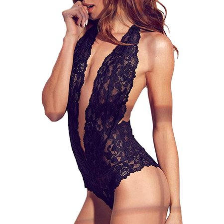 63f1462baf Issac Live - Womens Open Back Halter Plunging Teddy,Comfortable Scalloped  Trim Lace Lingerie - Walmart.com