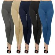 Kuda Moda 5 Pack Women's High Waist Warm Thermal Fleece Lined Full Length Leggings with Flattering Front Seam