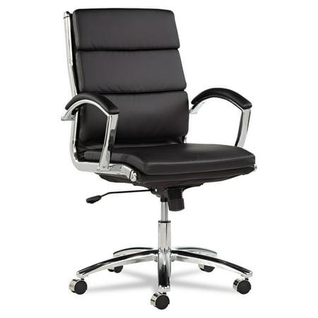 Alera Neratoli Series Mid-Back Swivel/Tilt Chair, Black - Alera Leather Chair