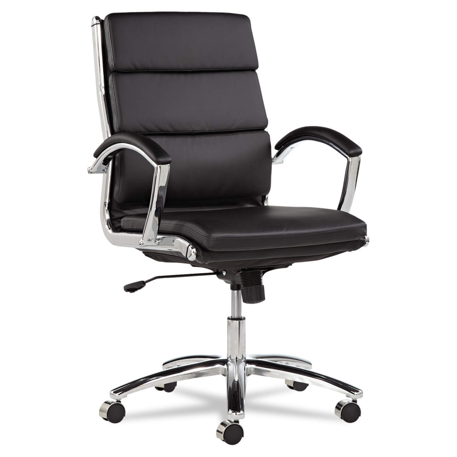 Alera Neratoli Series Mid-Back Swivel/Tilt Chair, Black Leather