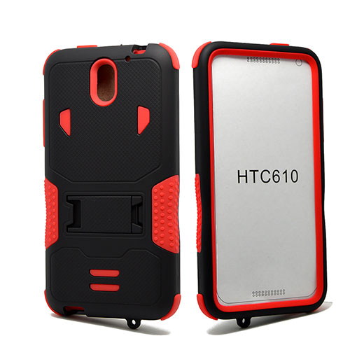 HTC Desire 610 Impact Silicone Case Dual Layer with Stand Red