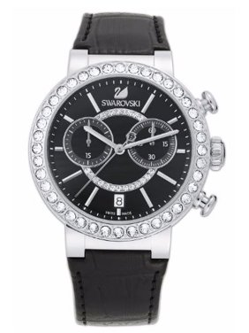 Swarovski Women's Swiss Chrono Citra Sphere Watch w/Black Leather Strap 38mm
