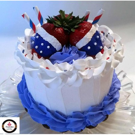 Independence Day Decorations (Fake Cake Red White & Blue 6