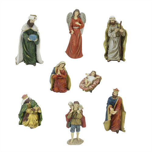 Northlight Seasonal 8 Piece Jewel Tone Christmas Nativity Figure Set