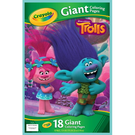 Crayola Trolls Giant Coloring Pages, 18 Sheets For Ages 3+ (Giant Art Jar)