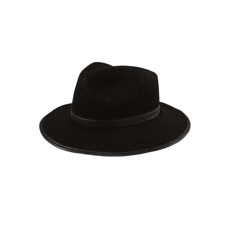 Black Permalux Gangster Capone Fedora Sized Costume Accessory Halloween Felt Cap