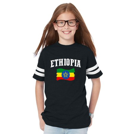 Ethiopia Flag Youth Unisex Football Fine Jersey Tee (Ethiopia Football)