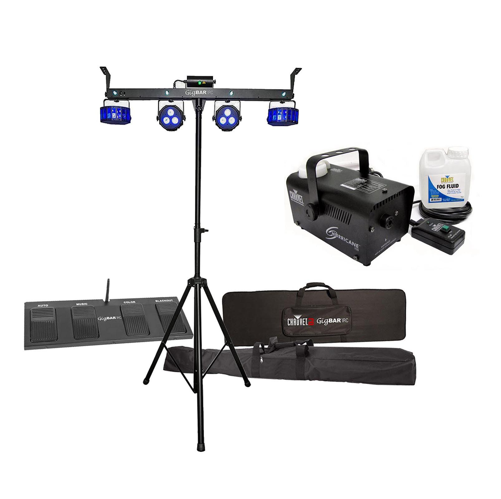 CHAUVET DJ GigBar IRC Laser Strobe Derby Par LED Light Bar System + Fog Machine by