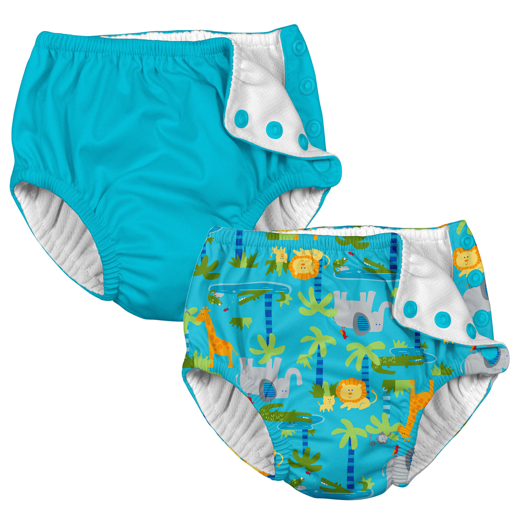 i play Baby and Toddler Snap Reusable Swim Diaper - Aqual Blue and Aqua Jungle - 2 Pack