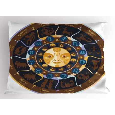 Astrology Pillow Sham Aries Taurus Gemini Cancer Leo Virgo Libra Scorpio Horoscope Signs  Decorative Standard Queen Size Printed Pillowcase  30 X 20 Inches  Brown Yellow And Blue  By Ambesonne