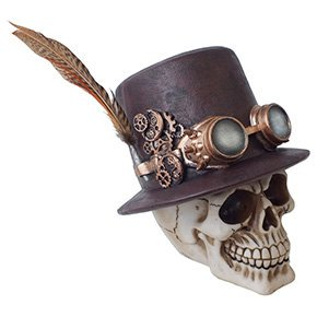 Steampunk Feathered Top Hat Skull with Steampunk Goggles Collectible Figurine Skull Decor