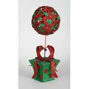 "20.5"" Unique Glitter Polka Dot Gift Box Christmas Poinsettia Ball Topiary"