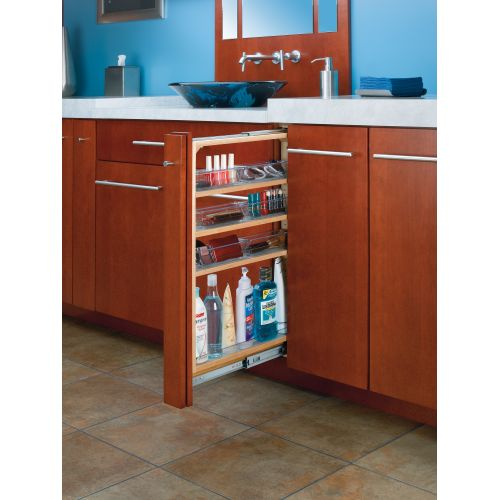"Rev-A-Shelf 432-VF30SC-6 432-VF Series 6"" Wide by 30"" High Vanity Cabinet Pull Out Filler Organizer w/ Polycarbonate Bins"