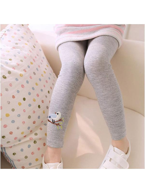 Sweetsmile Kids Baby Girls Embroidered Bird Pattern Tight Long Pants Autumn Toddler Stretchy Leggings Trousers 2-7Y