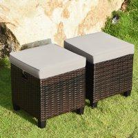 Gymax 2 Rattan Ottomans Cushioned Seat Foot Rest Set Garden Furniture