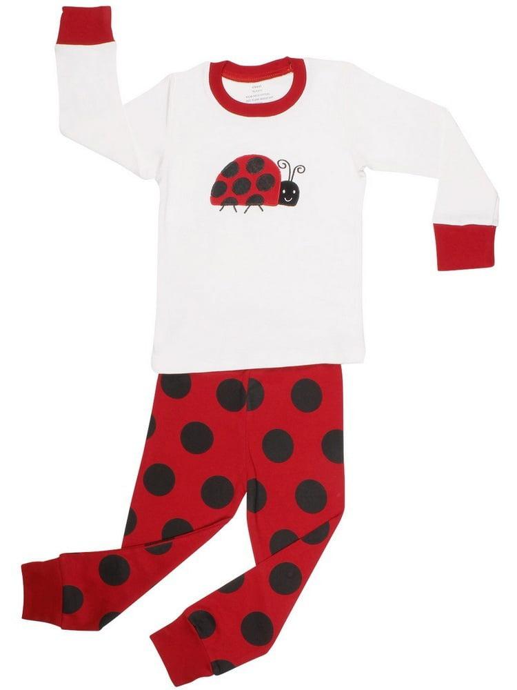 Elowel Little Girls Black Red Lady Bug Dot Cotton 2 Pc Pajama Set