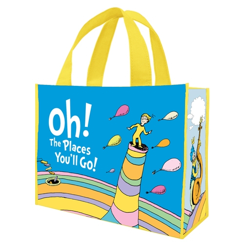 Dr. Seuss Oh The Places You'll Go Large Shopper Tote Bag Recycled Graduation