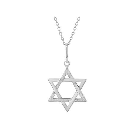 925 Sterling Silver Star of David Jewish Judaica Pendant Necklace 19