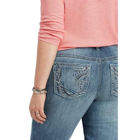 - Plus Size DenimFlex TM Embellished Back Pocket Slim Boot Jean