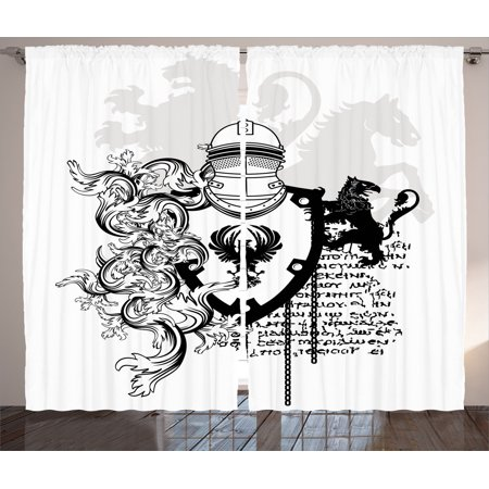 Medieval Decor Curtains 2 Panels Set, Heraldic Helmet Coat Of Medieval Knight With Ornate Pattern The Past Old Times Graphic, Living Room Bedroom Accessories, By Ambesonne